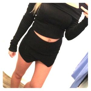Suede Black Envelope Skort